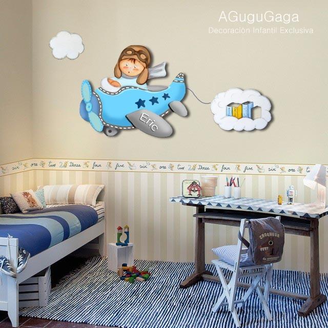 Silueta de madera ni o aviador con nube de libros - Siluetas madera infantiles ...