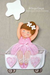 Silueta de madera bailarina en carrito decoraci n - Siluetas madera infantiles ...