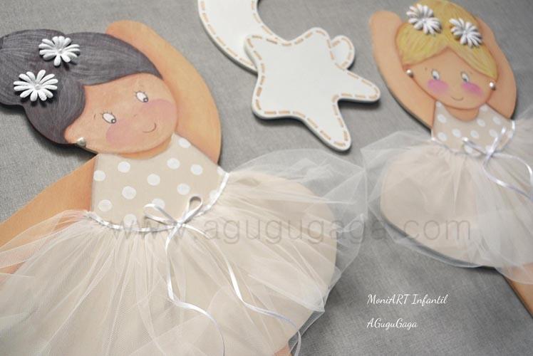 Siluetas de madera bailarinas beige detalle tut - Siluetas madera infantiles ...